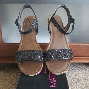 Material Girl Black Glitter Sandals